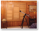 Plantation shutters have louvers wider than 1.25 inches or 3.2 cm. Wider louvers, up to 4 inches or 10.2 cm, optically widen the view, perfect for stargazing!