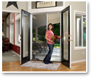 We have double-door retractable screens that work with any patio or deck entry.