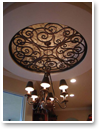 Faux Iron Art is so light, it can be used to add visual interest and dramatic presence to your ceiling areas.