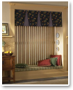 Top vertical blinds with a tailored valance for a more finished, decorator-inspired look.