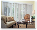 Choose vertical blinds to span wide windows.